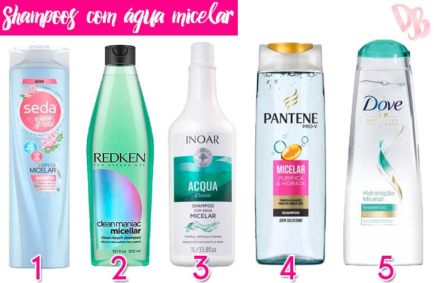 água micelar nos cabelos shampoos